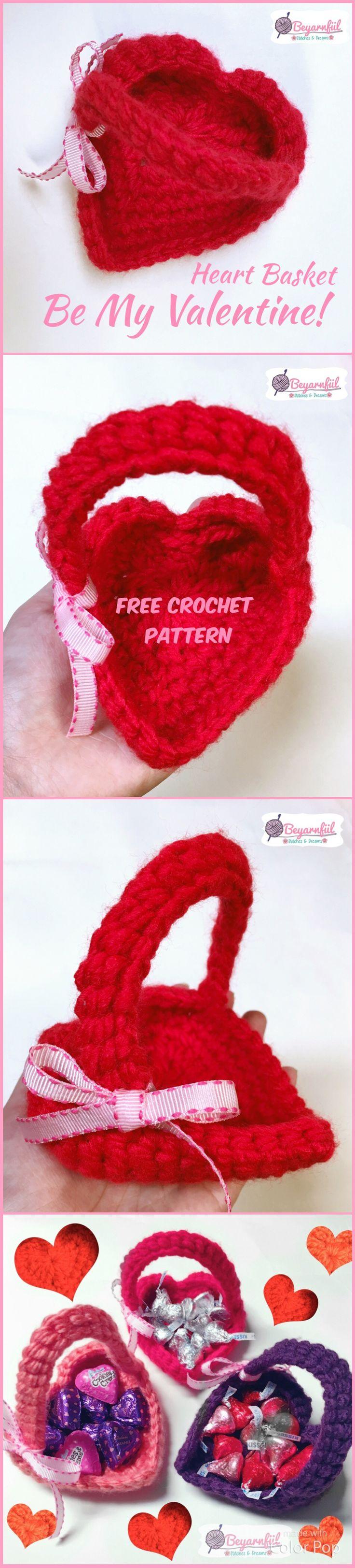 Crochet Heart | Easy Crochet Heart Basket | Free crochet Heart | Free Crochet Basket