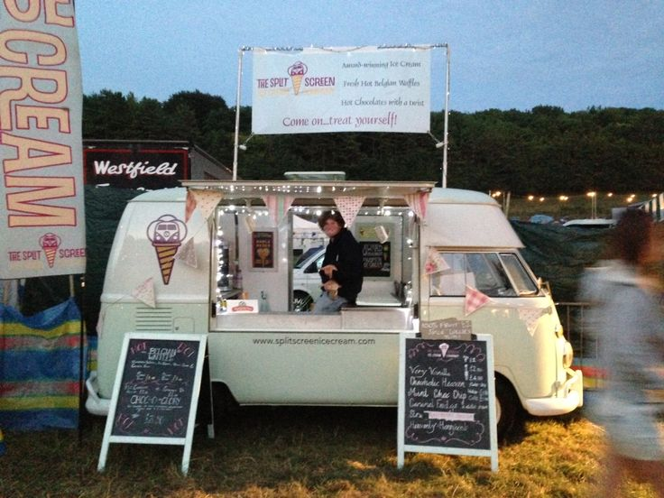 Freelance scooper ready for business in the Splitscreen ice cream van at BoomTown fair!