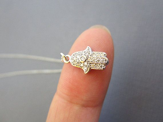 Cubic Zirconia Detailed Hamsa Brass Pendant on sterling silver chain and lobster clasp.    ***Hamsa Hand - Depicting the open right hand, an image