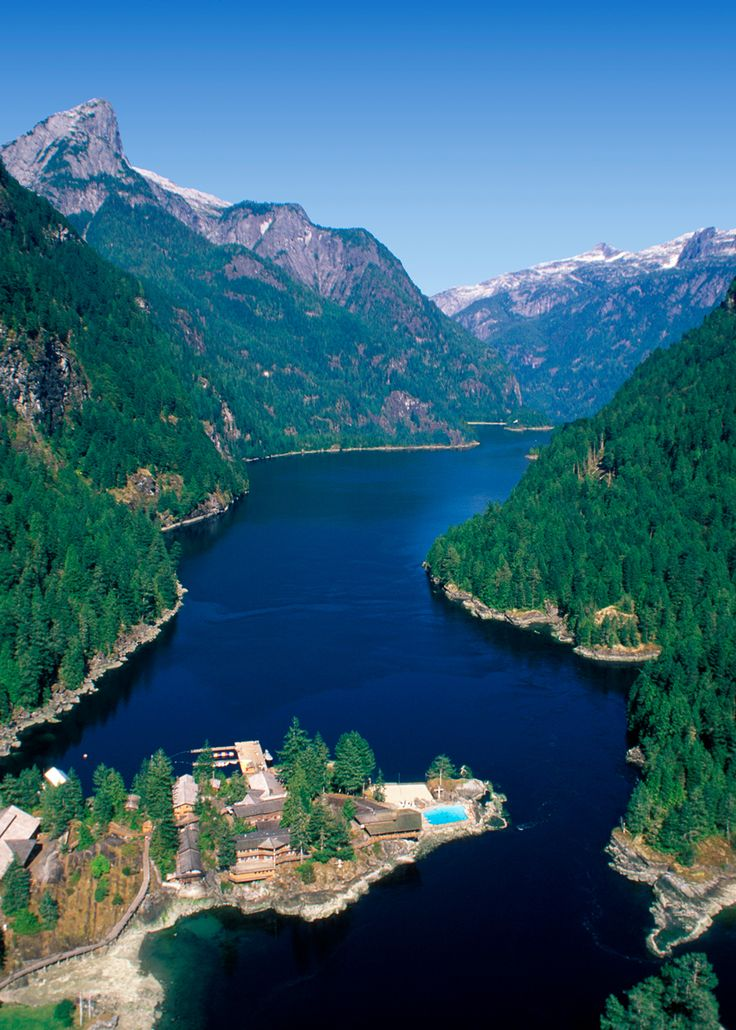 Aerial view looking into Princess Louisa Inlet, British Columbia, Canada