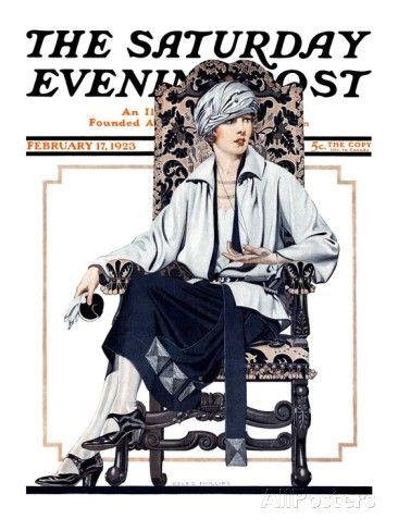 """オールポスターズの C. コールズ・フィリップス「""""Seated Woman,"""" Saturday Evening Post Cover, February 17, 1923」ジクレープリント"""