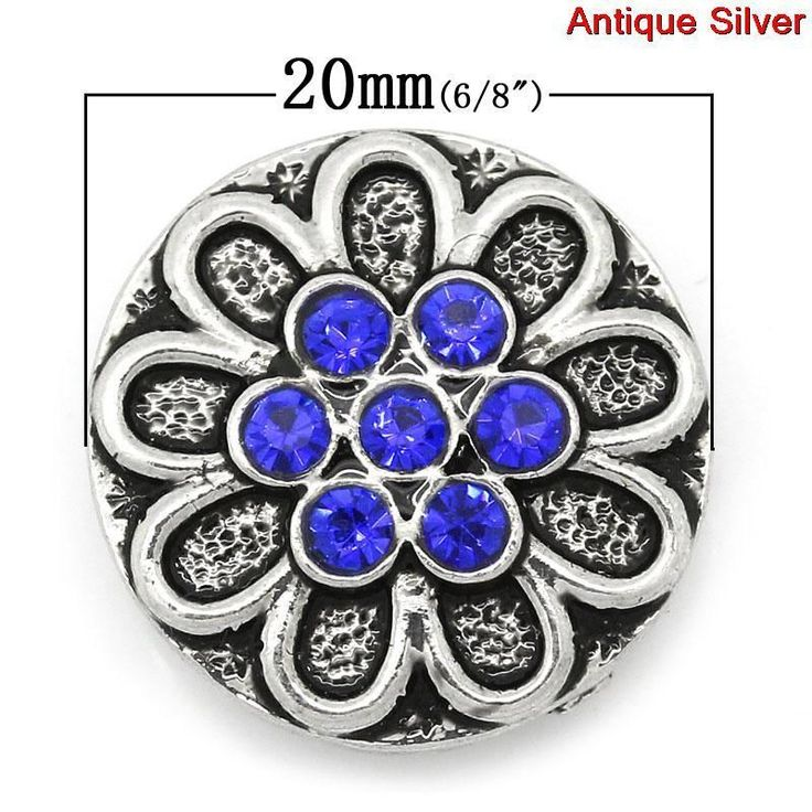 Snap Jewel Chunk Button Rnd Antique SilverBlue Rhinestone Flower Carved 20mm 1pc