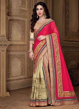 Pink Beige Embroidery Work Designer Wedding Fancy Bollywood Lehenga Sarees http://www.angelnx.com/Sarees/Lehenga-Sarees