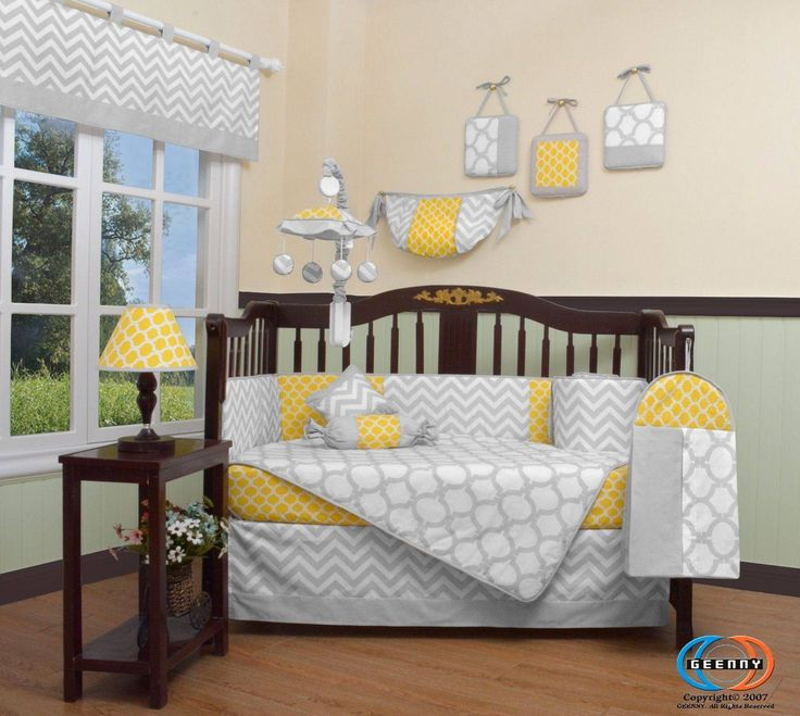 awesome Child Yellow & Grey Chevron 13 Piece Nursery CRIB BEDDING SET Check more at https://aeoffers.com/product/baby-toys-and-games-clothing-shoes/child-yellow-grey-chevron-13-piece-nursery-crib-bedding-set/