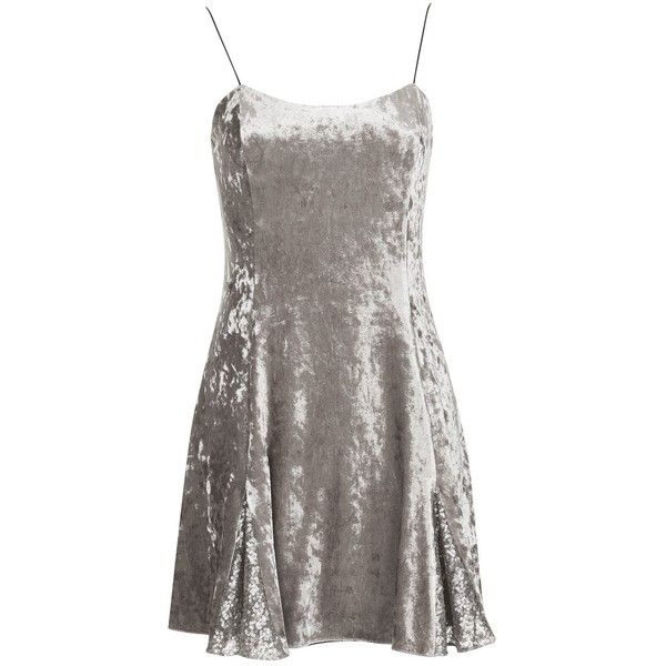 Silver Godet Dress by Topshop Finds ($40) ❤ liked on Polyvore featuring dresses, brown dresses, holiday party dresses, night out dresses, brown party dress and slip dresses
