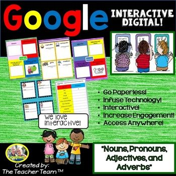 """2nd and 3rd Grade Google Drive Nouns, Pronouns, Adjectives, and Adverbs Interactive Notebook activities. Perfect for CENTERS, STATIONS, SMALL GROUPS, EARLY FINISHERS, or WHOLE CLASS instruction. This Google Drive based resource covers: CCSS ELA-LITERACY L.2.1.E """"Use adjectives and adverbs, and choose between them depending on what is being modified"""""""