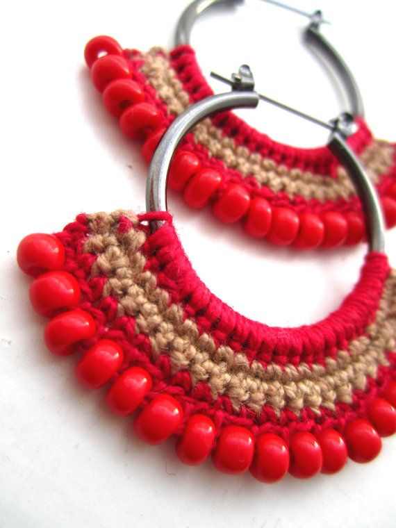 Crocheted Hoops with beads....started doing elementary crochet bowls with yard and cord (crochet together to give small bowl shape). Will search for earring crochet patterns....