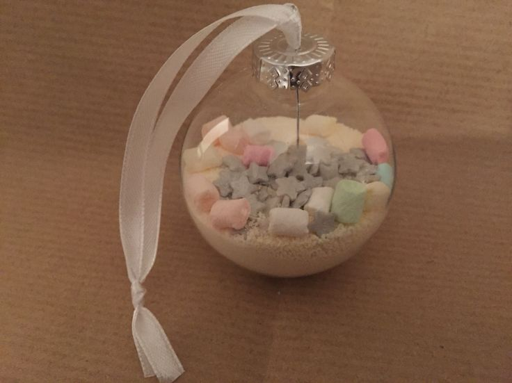 Christmas Ornament filled with white choc caotina.