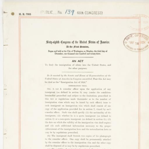 Immigration Act of 1924.
