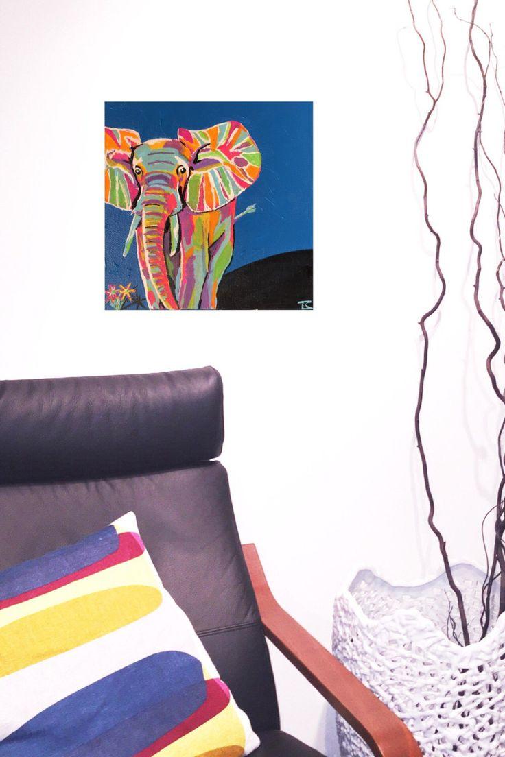 Electric Elephant by CustomCanadianArt on Etsy https://www.etsy.com/ca/listing/465478258/electric-elephant