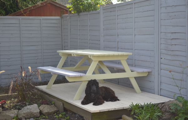 Quick outside fix. Fence painted in Ronseal Silver birch and deck painted Opal White by Sadolin