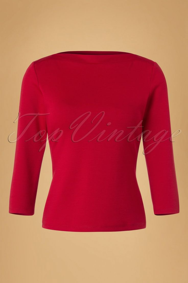 This 60s Bardot Top is an all-time classic!  This beauty with 3/4 sleeves is named after the gorgeous Miss Bardot that was well known for wearing boat neck tops ;-) Made from a luxurious and heavy quality, stretchy viscose blend in a dark red colour that will keep its fitted shape. Do as Brigitte did and look fab in this versatile boat neck top!    Boat neck 3/4 sleeves Long enough to pair with regular trousers