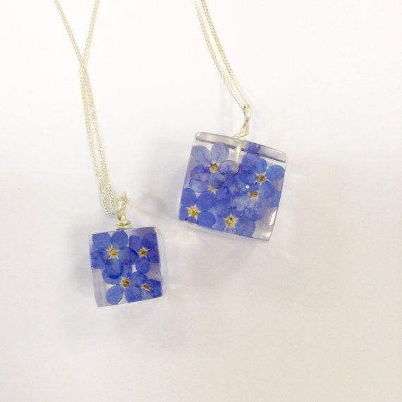 Forget-Me-Not Pendant Necklace Resin and Real Flowers on Silver Chain