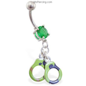 Camo handcuff belly ring :D