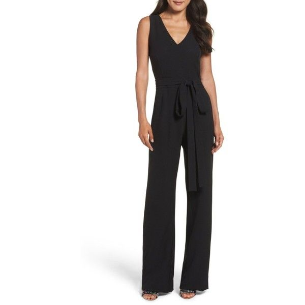Petite Women's Vince Camuto Jumpsuit ($99) ❤ liked on Polyvore featuring jumpsuits, black, petite, jump suit, wide leg jumpsuits, petite jumpsuit, tailored jumpsuit and crepe jumpsuit