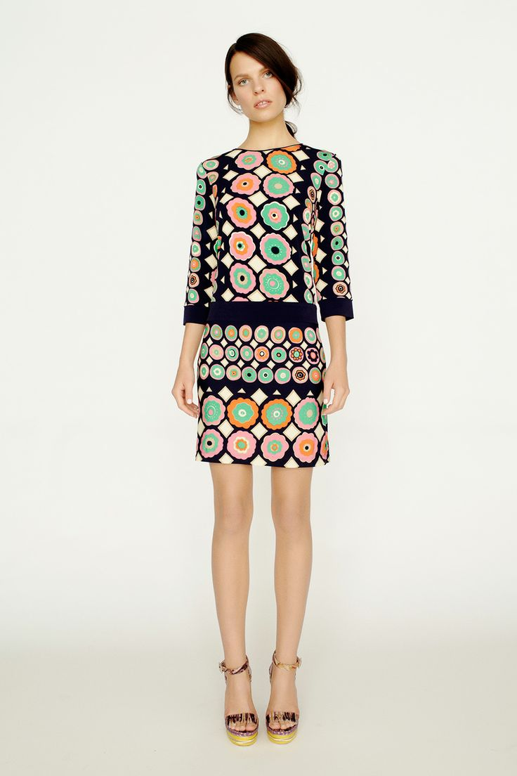 collette by Collette Dinnigan 3/4 Sleeve Dress with Solid Contrast Bands