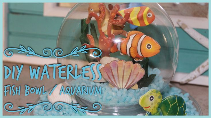 Easy how to tutorial - In this video I will show you how to make a Mini waterless fish bowl / aquarium, Using A Diy dollar tree snow globe and stickers. Great for a desk, bathroom vanity or any were you want to add a bit of a beach theme. #diy #beach #waterglobe #snowglobe #fish #stickers #howto #easy #cheap #nemo