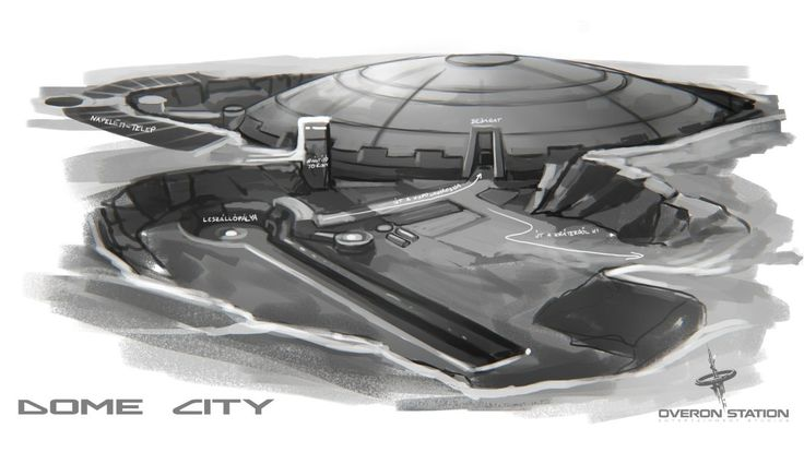 Early sketch of the Dome City's location in our upcoming sci-fi adventure game with puzzles and mysteries, Dome City