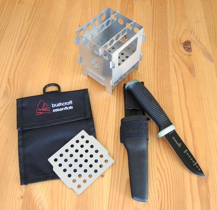 WERBUNG: Bushcraft Essentials Bushbox mit Grillplatte und Tasche und dem Hultafors Outdoormesser OK 4