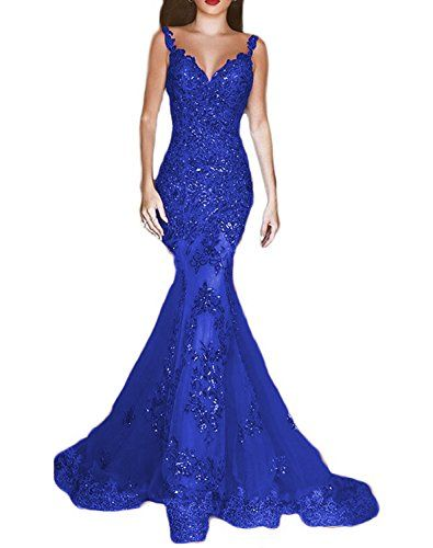 OYISHA Womens Sequins Mermaid Evening Dresses V-neck Long Sexy Prom Gowns EV44 Royal Blue 14 $189.90