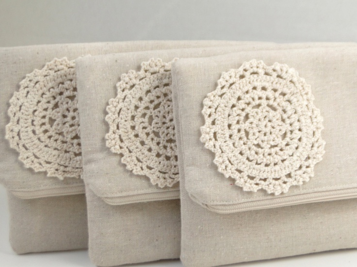 Country chic wedding, bridesmaids gifts under 25, clutch burlap and lace wedding, rustic natural wedding, crochet lace detailed beige clutch. $21.00, via Etsy.