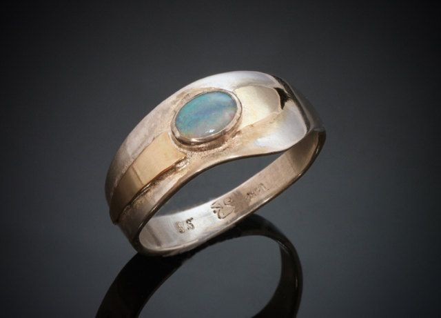 Delicate Opal Silver Gold Ring Wavy - Narrow- Unique Wedding Band - Commitment Ring - Two Tone - Blue Turquoise Opal - Handmade in BC Canada by Fullmoonjoolz on Etsy