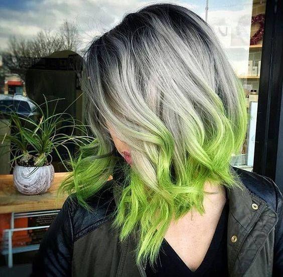 WOW Silver Green Ombre Fun Culrs Styled Short Lob