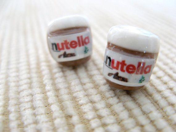 nutella jar miniature post earrings by andreachalari on Etsy, $7.50