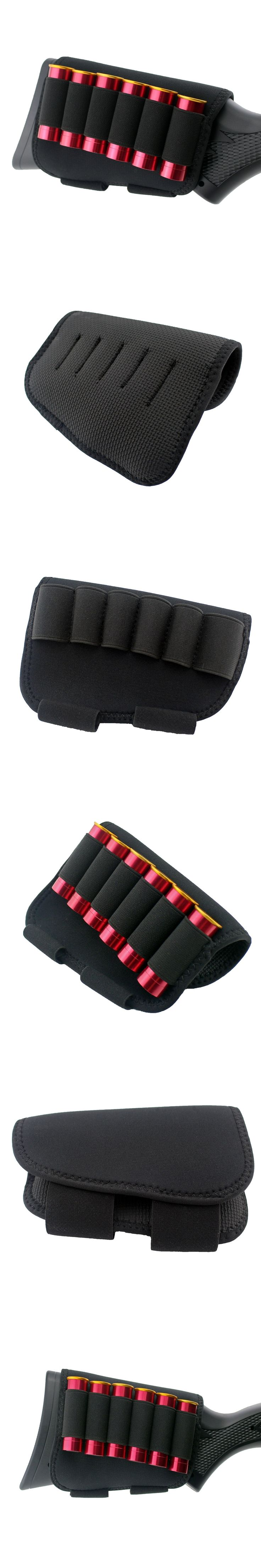 Tactical Buttstock Cheek Rest Pouch with 6 Rounds 12 20 Gauge Shotgun Shell Holder