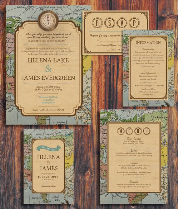 Rustic Vintage Travel Theme Wedding Invitation di ConteurCo