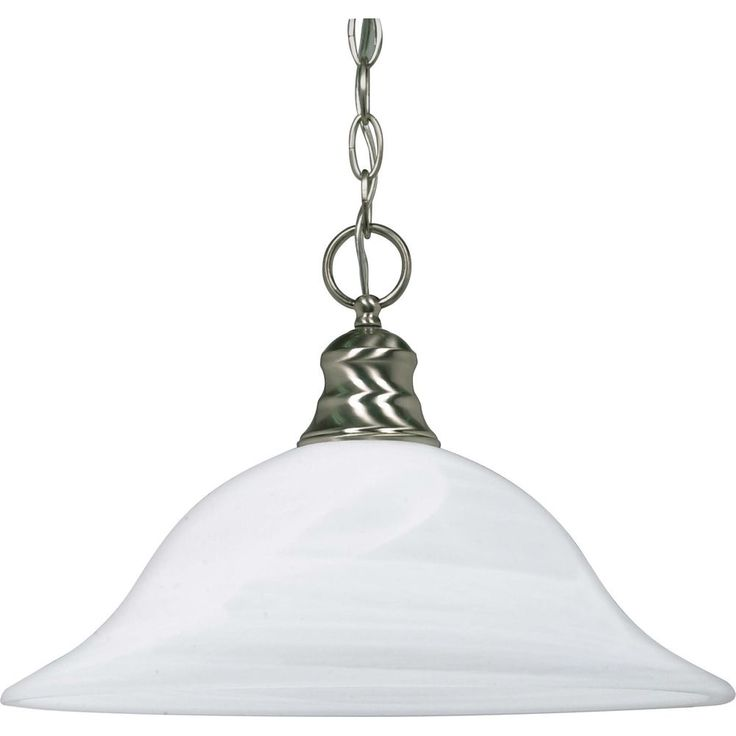 1-Light Brushed Nickel Fluorescent 16 Inch Pendant with Alabaster Glass (1) 18 watt CFL Bulb Included