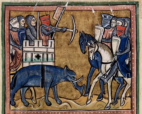 Knights on a war elephant repel a group of knights on horseback. Bestiary, England (possibly Rochester), 2nd quarter of the 13th century