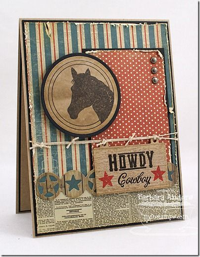 Love this rustic card using My Favorite Things Howdy, Western Backgrounds