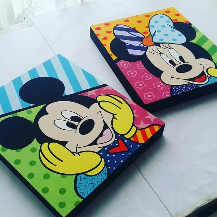 Cuadritos de Mickey y Minnie estilo Britto #mitely #britto #mickeyandminnie #disney #mickey #minnie