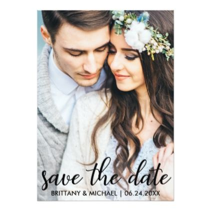 Save The Date Modern Engagement Photo Card SB - script gifts template templates diy customize personalize special