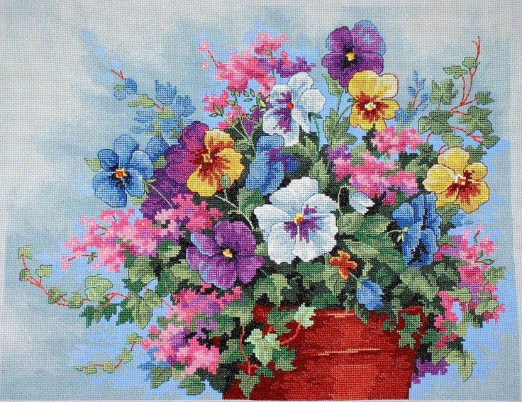 CS-1565 Cross Stitch Kit Pansy Profusion Colorful Flowers Flower dim.jpg
