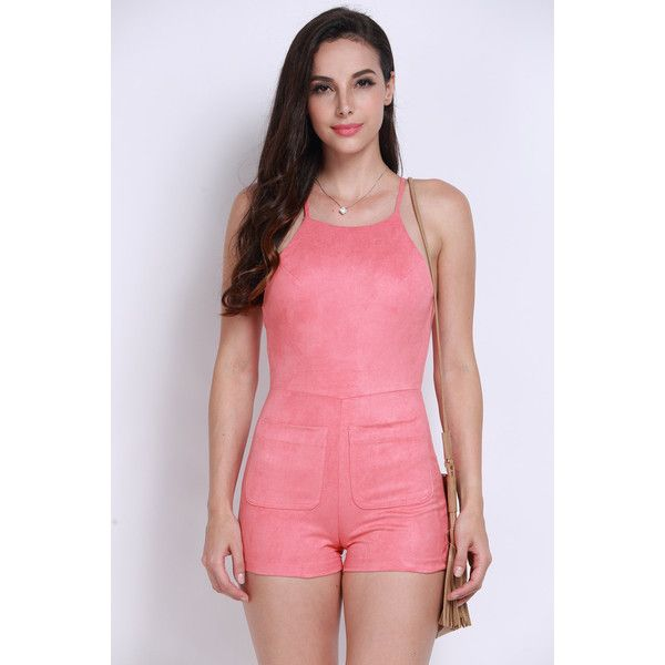 Yoins Rust Suedette Cami Romper ($19) ❤ liked on Polyvore featuring jumpsuits, rompers, orange, playsuit romper, halter top, orange halter top, pink halter top and halter-neck tops