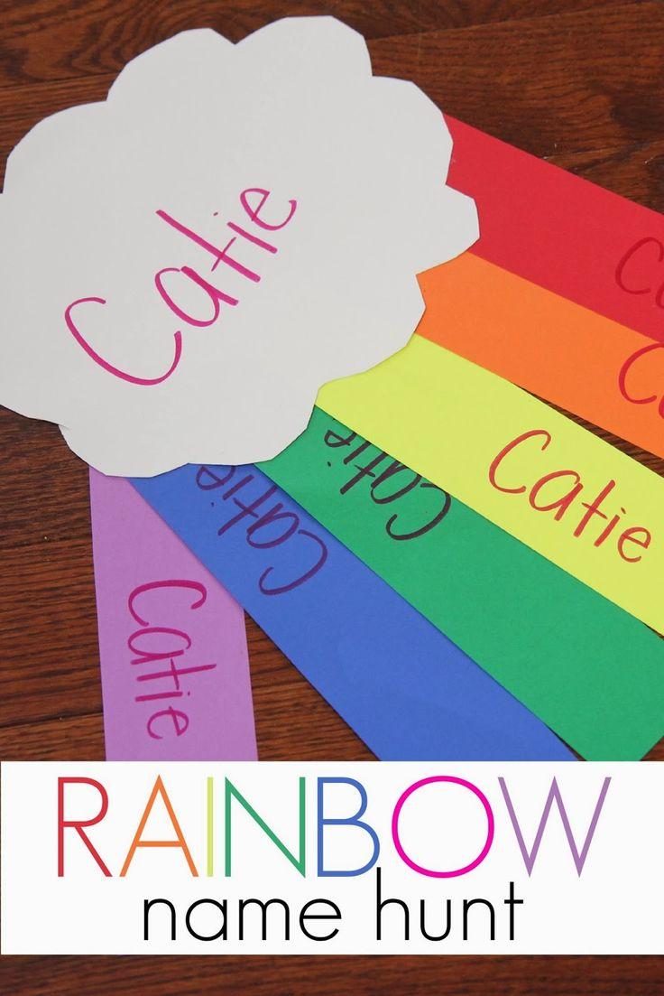 Activities for colors for toddlers - Rainbow Name Hunt Name Activities Preschoolkindergarten Namespreschool Colorsactivities For Toddlerstoddler