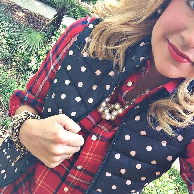 Fall Plaid + Navy Polka Dot Vest