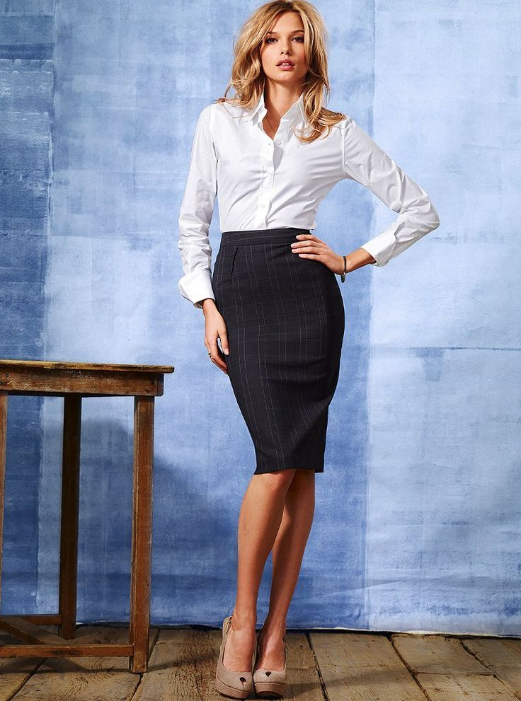 Black Pinstripe Pencil Skirt White Blouse and Beige High Heels.     Must-have skirt... To wear with anything from button- downs, to ruffle blouses, to turtlenecks, to sleeveless......