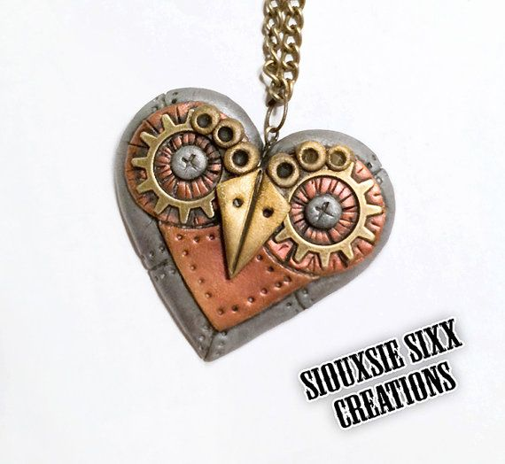 Steampunk Owl Heart Pendant Made of by SiouxsieSixxCreation