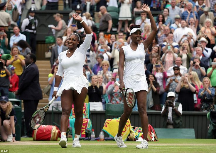 The American sisters smile and wave at the crowds as they celebrate their win againstTime...