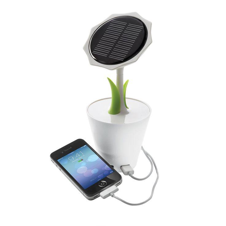 Caricabatterie solare Sunflower  XD Design Sunflower porta l'energia solare alla scrivania con un sorriso! La sua batteria ricaricabile interna da 2500 mAh e' abbastanza potente per ricaricare cellulare e lettore MP3. Questo caricabatterie solare presenta un output USB e un input mini USB. Include un unico grande pannello solare.