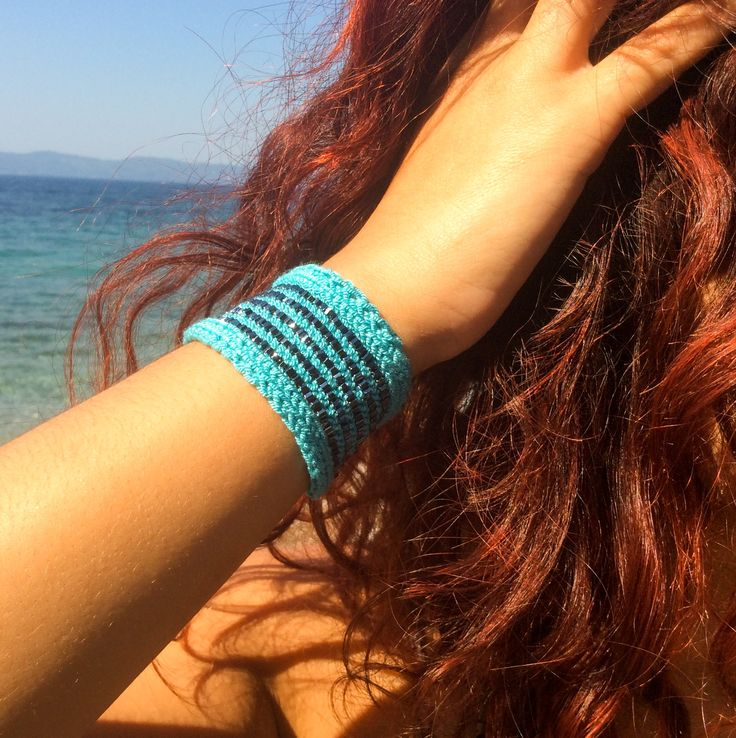 Turquoise sweatbands tattoo cover up, small stretch soft wrist cuff bracelet, yarn jewelry
