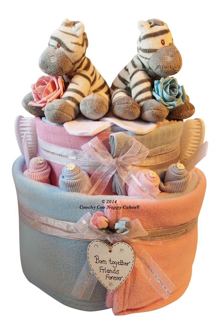 Twin baby girl baby boy nappy cake baby shower gift hamper