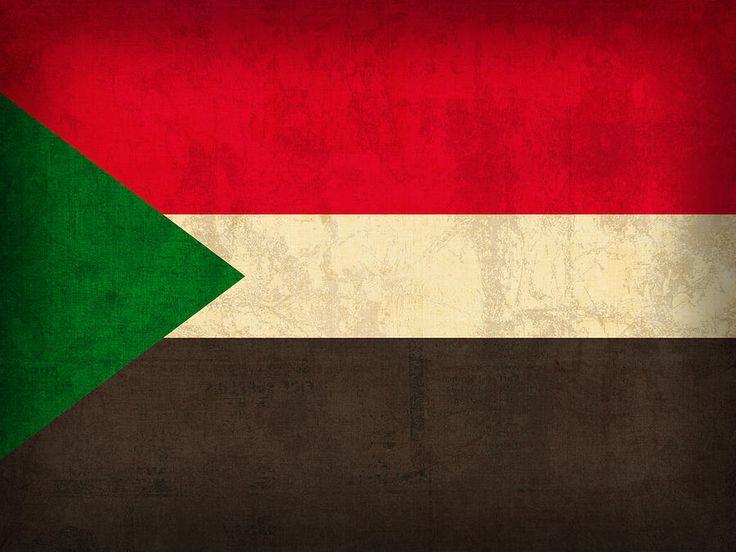 Sudan Flag Vintage Distressed Finish Mixed Media