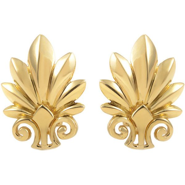 Pre-owned Ilias Lalaounis Yellow Gold Flower Clip-On Earrings featuring polyvore, fashion, jewelry, earrings, clip-on earrings, 18k earrings, flower earrings, clip earrings, gold clip earrings and flower jewelry