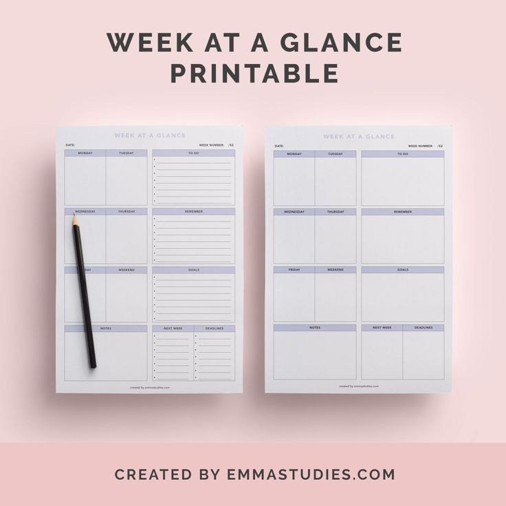25 b sta week at a glance printable id erna p pinterest for Day at a glance calendar template
