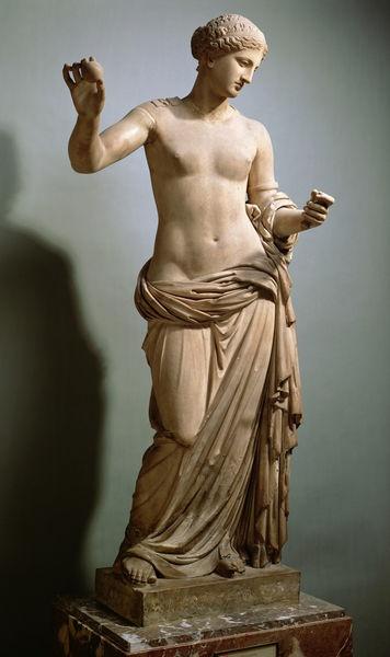 Venus of Arles (Aphrodite), Roman statute (copy) (marble), original attributed to Praxiteles, discovered in Arles, 1st century BC (Musée du Louvre, Paris).