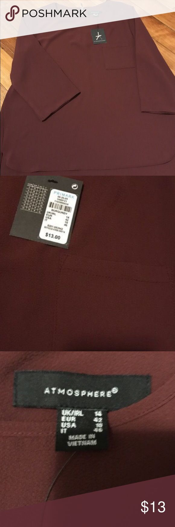 Women's US size 10 Burgundy sheer type shirt Brand new, still with tags. Never worn. Women's Burgundy sheer feeling shirt but not see through. US size 10. Fits like a medium Primark Tops Blouses